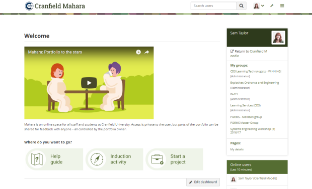 Cranfield University Mahara homepage with the new buttons