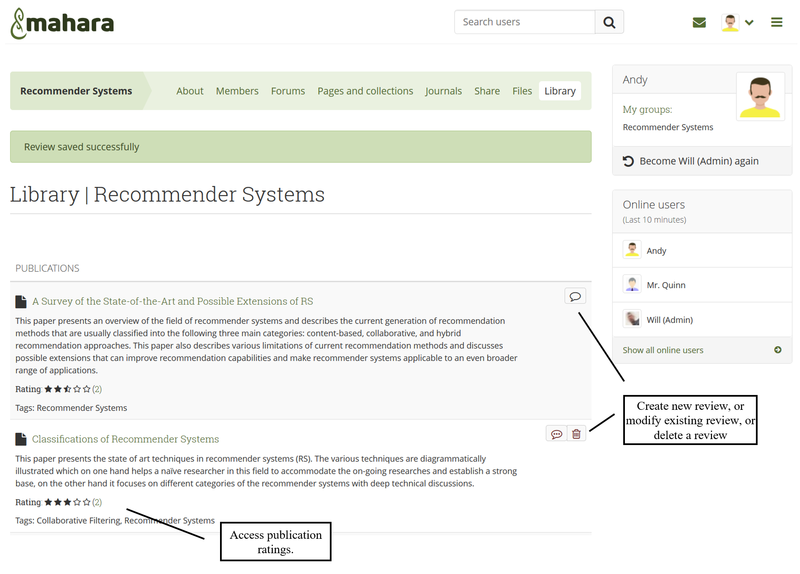 Screenshot of the Mahara Library plugin