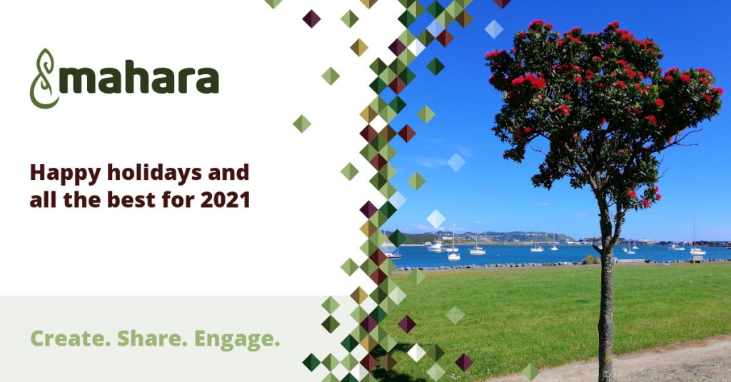 Holiday card from the Mahara team with a pōhutukawa tree in front of Evans Bay in Wellington